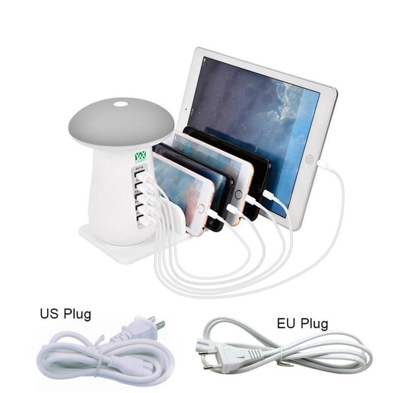 5 Port USB Fast Desktop Charging Station with Night Light For Reading
