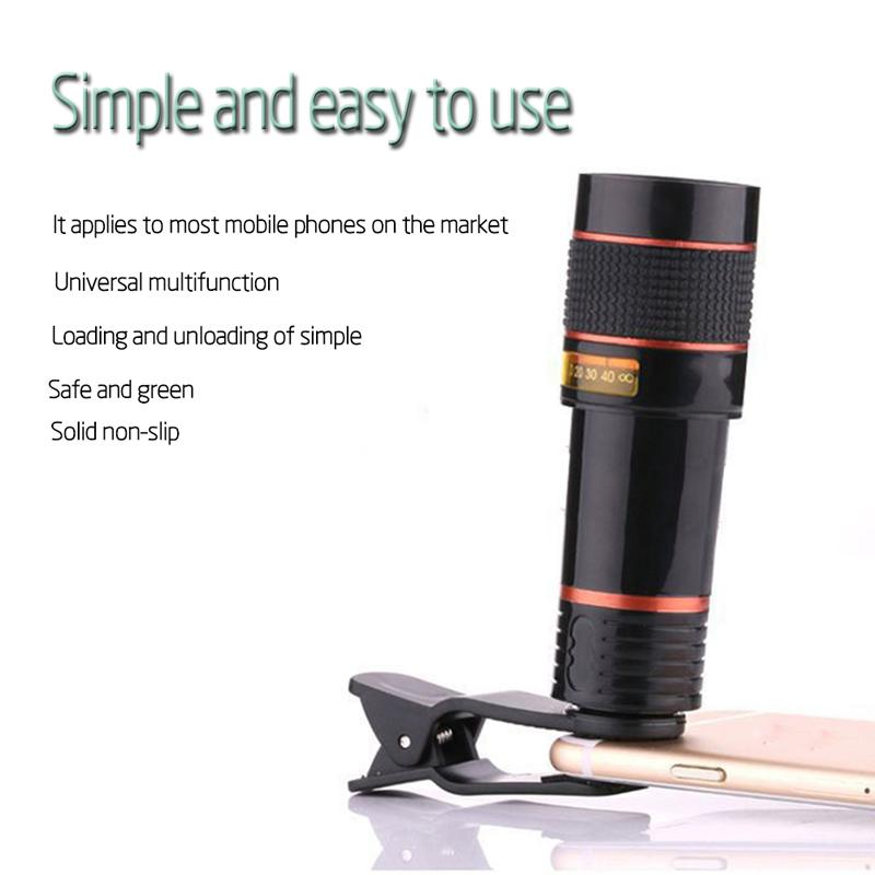 HD Clip-on 12x Optical Zoom  for Mobile Phone Telescope Lens