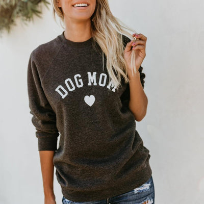 DOG MOM Funny Letter Print  Full Sleeve Sweatshirt For Women