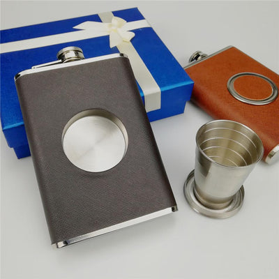 Shot Flask Stainless Steel 8 oz Hip Flask with 2 Oz.Collapsible Shot Glass
