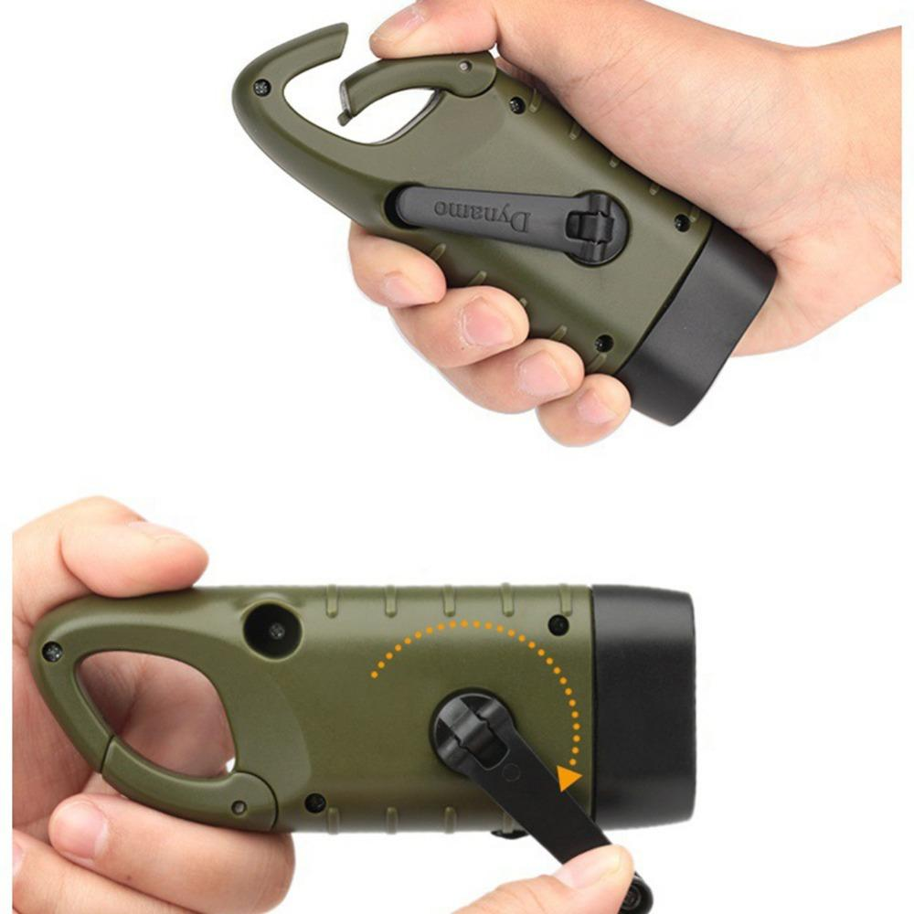Solar Powered Hand Crank Survival Military Waterproof LED Flashlight