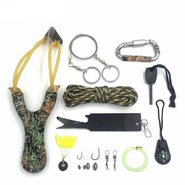 12 in1 Outdoor Camping Survival Tactical Paracord Flint Carabiner EDC Tools Kit