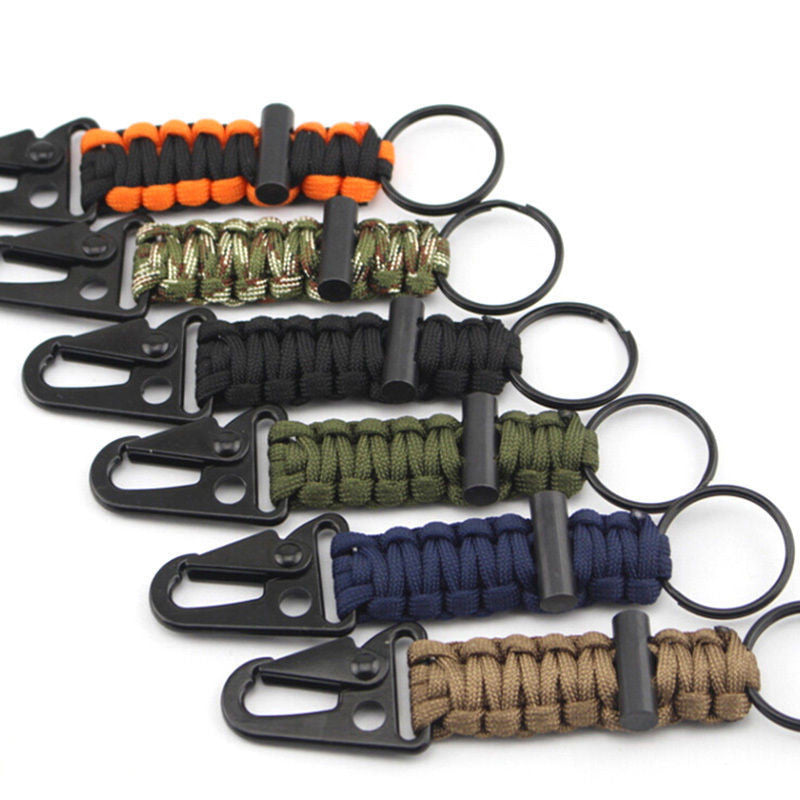 Paracord Survival Tactical Keychain Carabiner Clip Hook