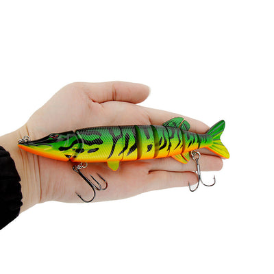 Lifelike Pike Muskie Fishing Lure 8-segement Swimbait