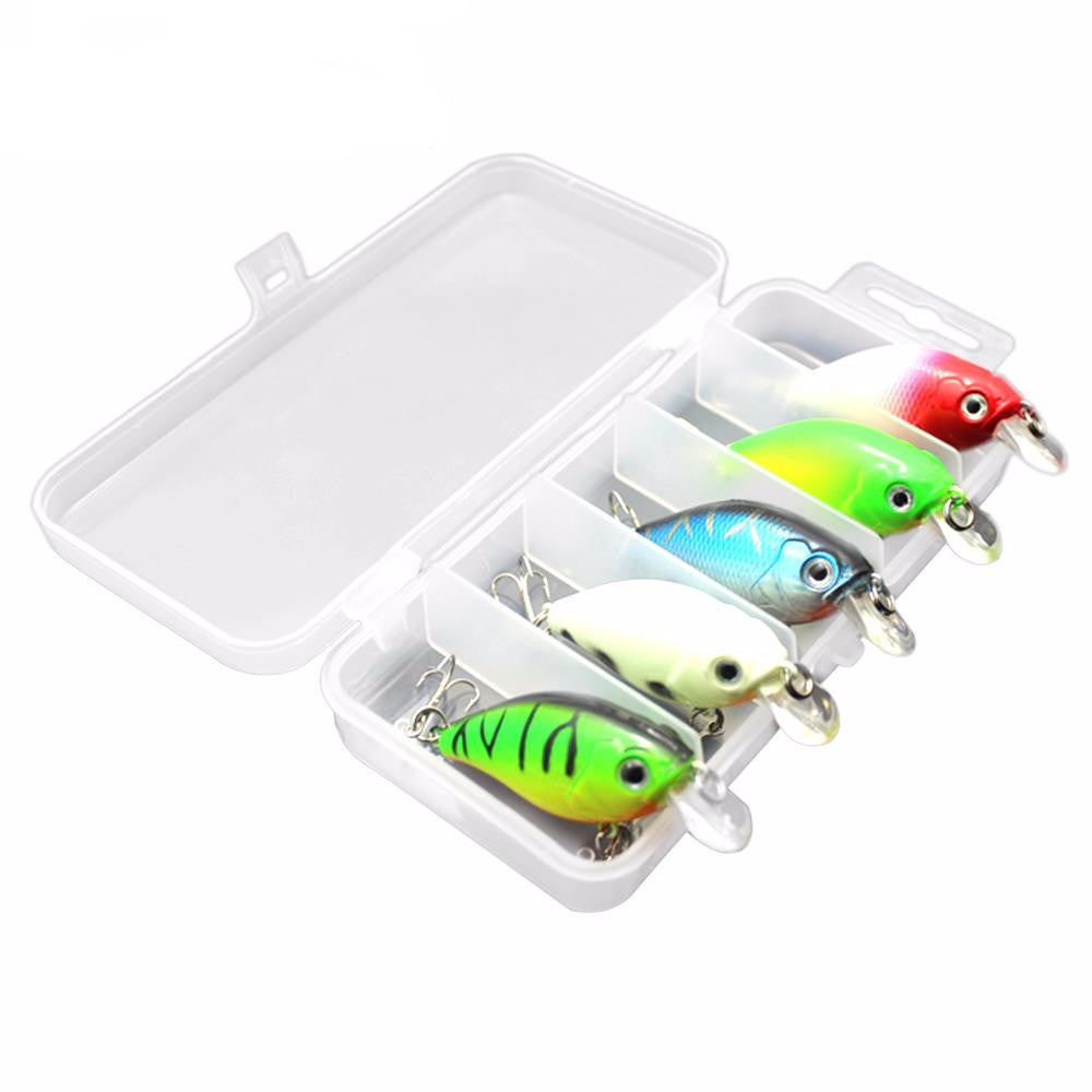 5 PCS Crankbait Minnow Fishing Lure Kit Set with Tackle Box
