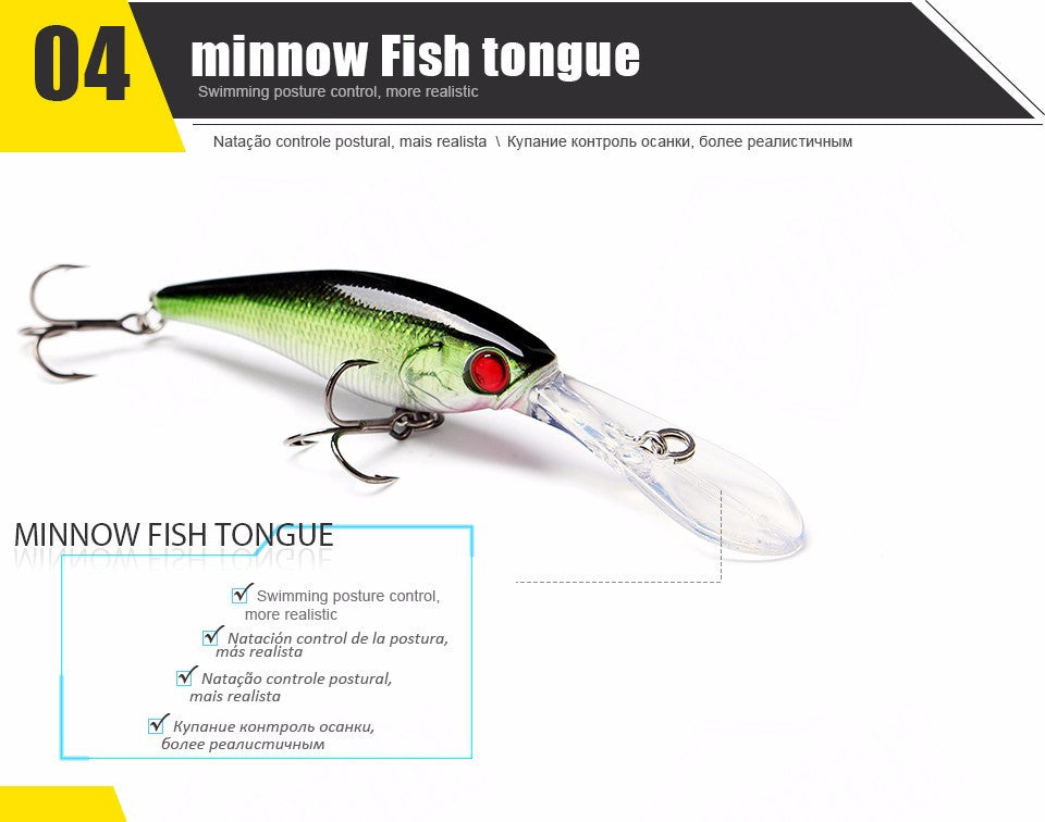 5 PCS Fishing Lures Minnow Wobblers Long Diving Lips