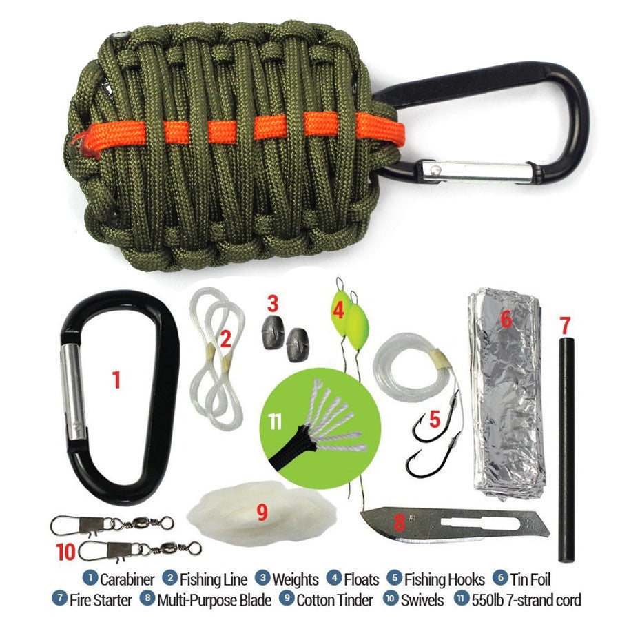 Paracord Survival Emergency Outdoor Gear Kit for Camping Fishing