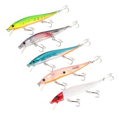 Crankbait Minnow Fishing Lures with 3 Hooks Pack of 5 PCS