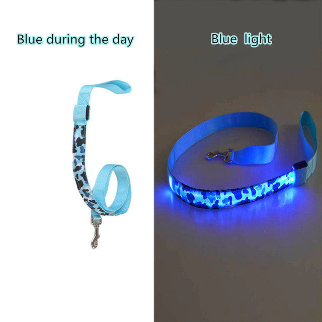 Camouflage LED Dog Leash 8 Colors