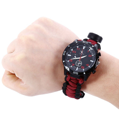 Multifunctional Survival Paracord Watch Scraper Whistle Thermometer Compass