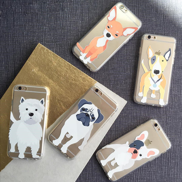 Cute Dogs Transparent Soft Cases for iPhone 6 6S