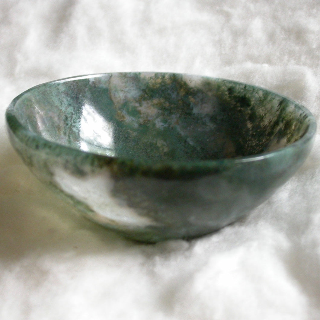 Handmade Green Moss Agate Bowl - Song of Stones