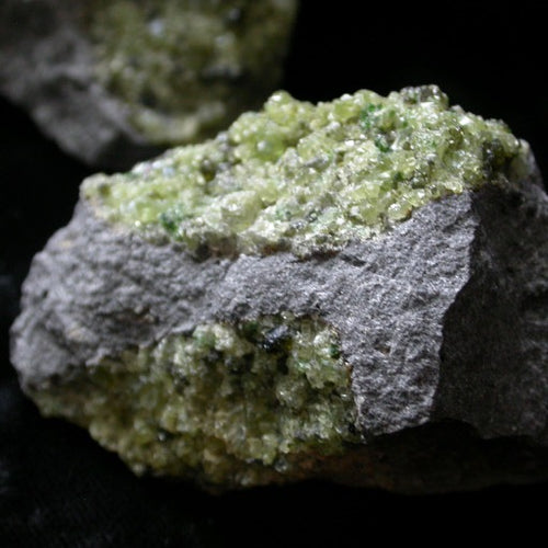 Peridot Crystals on Basalt - Song of Stones