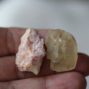 Rhodochrosite and Bytownite raw crystal duet - Song of Stones