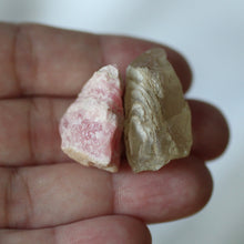 Load image into Gallery viewer, Rhodochrosite and Bytownite raw crystal duet - Song of Stones