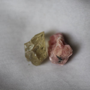 Rhodochrosite and Bytownite gem crystal duet - Song of Stones
