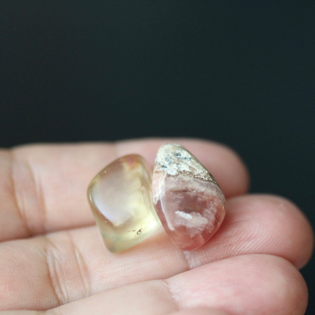 Rhodochrosite and Bytownite tumbled crystal duet - Song of Stones