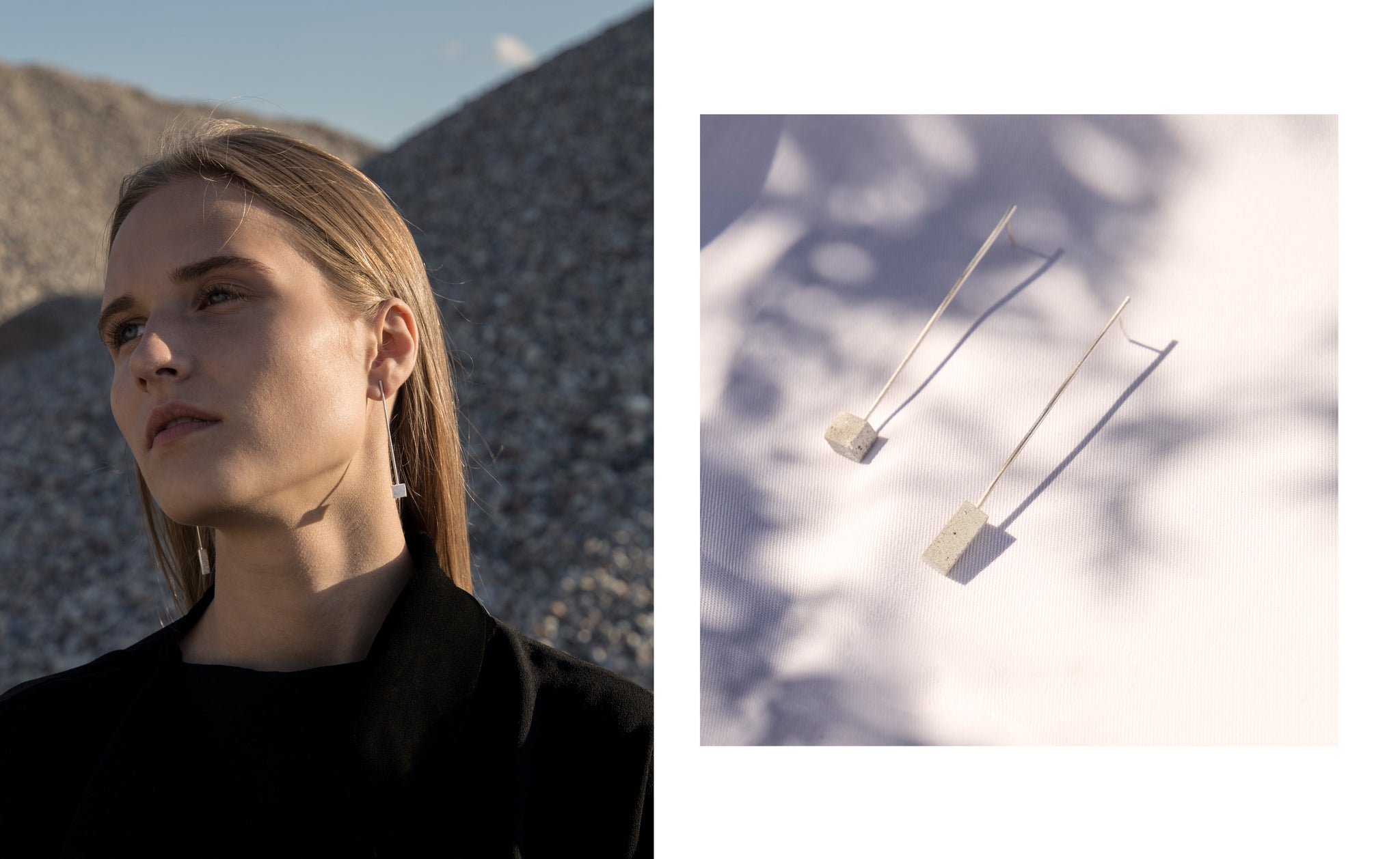 SALT concrete earrings