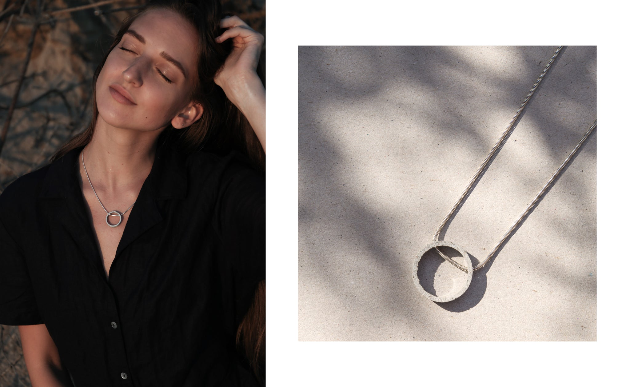 CIRCULAR concrete and silver necklace