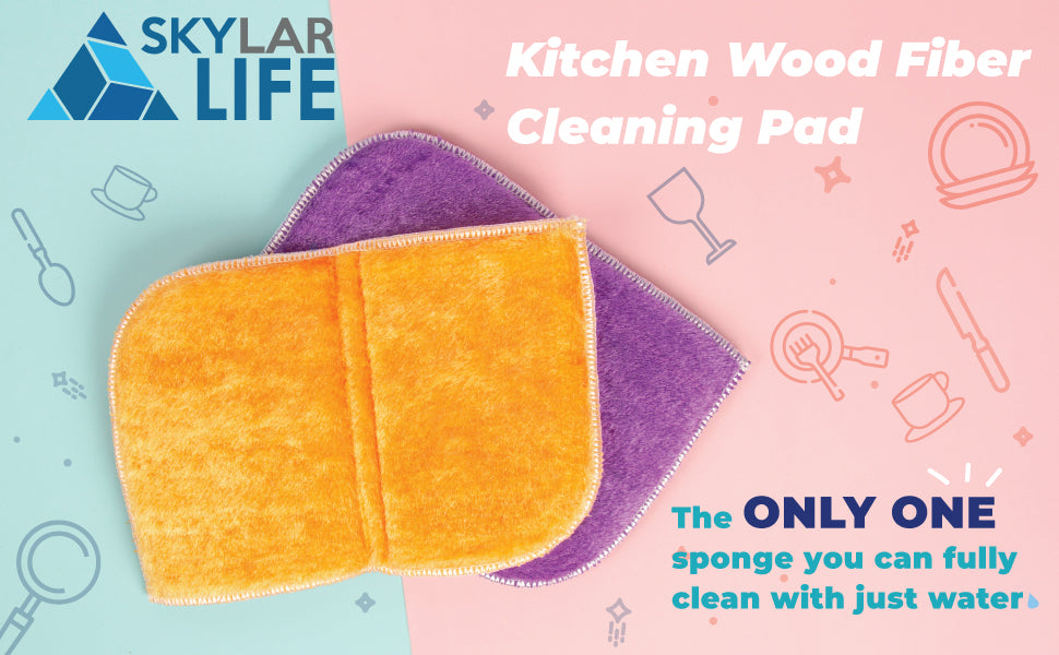 2020 Newly Launched! The Best sponge! Skylarlife Kitchen Wood Fiber Cleaning Pad
