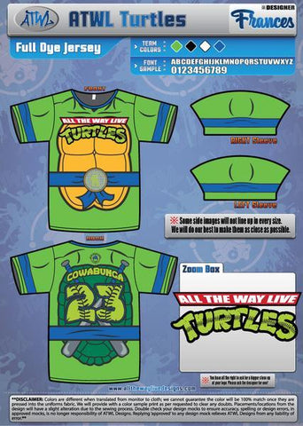 Cowabunga Turtles Youth Full Dye Jersey