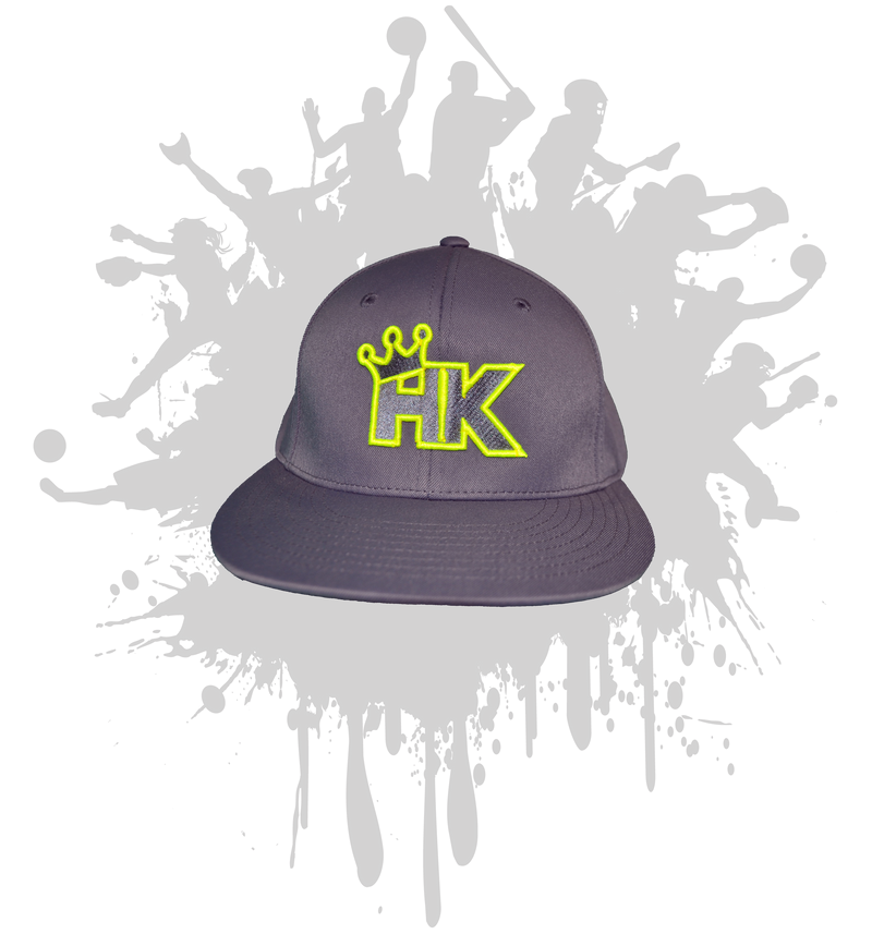 HIT KINGS  Graphite 8d6 Hat Neon yellow logo