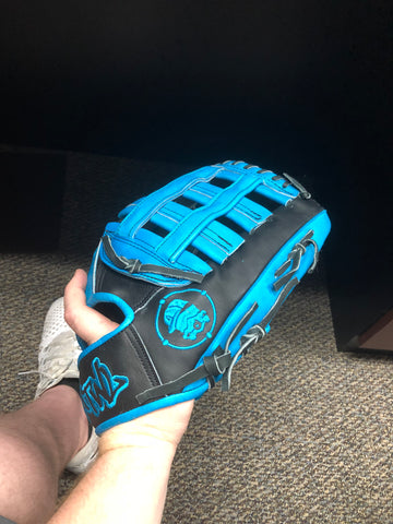 "ATWL 14"" H Web Glove Black/Aqua Blue Steerhide"