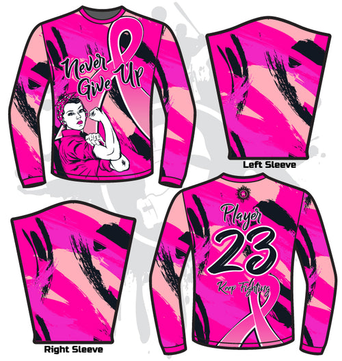 Never Give Up Breast Cancer Awareness Mens Full Dye Long Sleeve Jersey