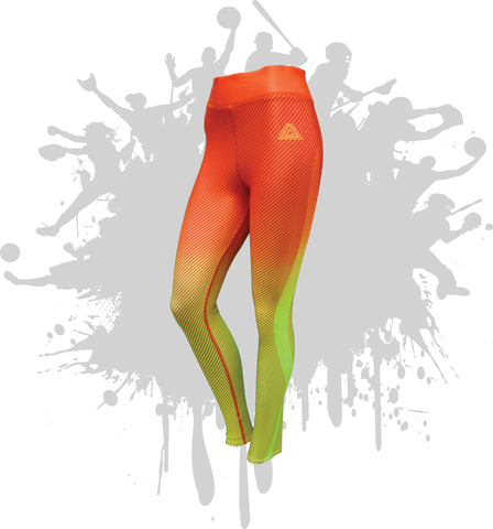 LINEAR LEGGINGS ORANGE/NEON YELLOW