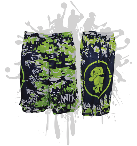 Splatter Splash Digital Camo Mens Full Dye Shorts Lime/Navy/White