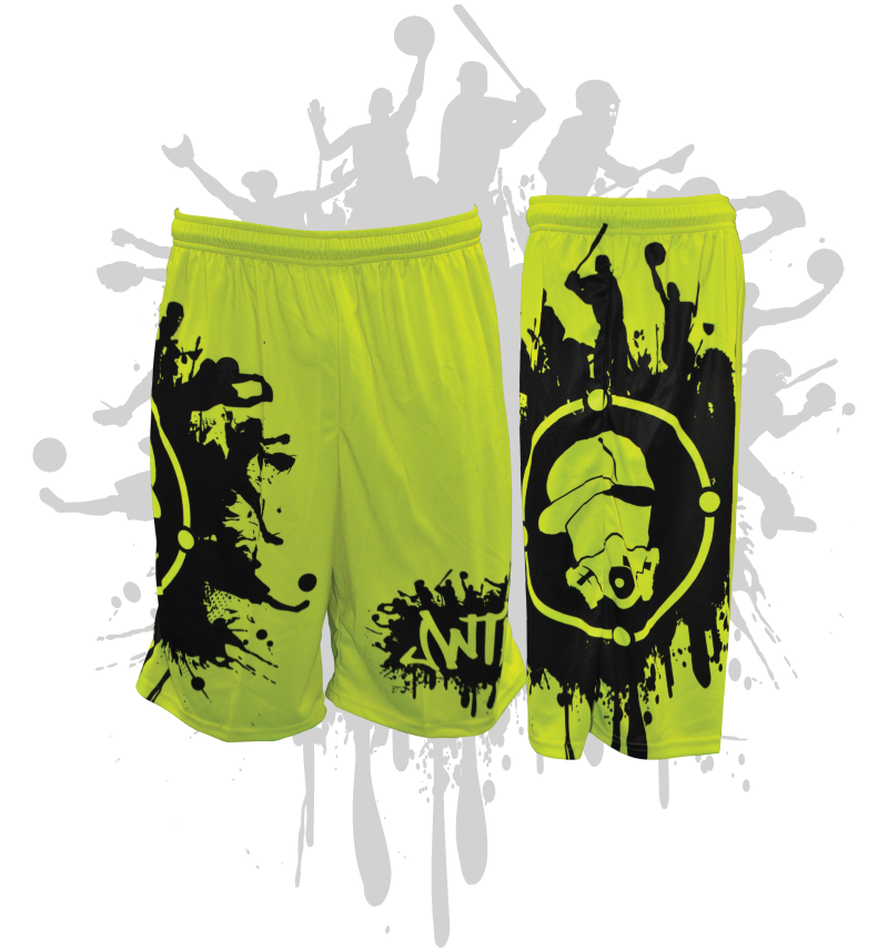 Splatter Splash Mens Full Dye Shorts Neon Yellow/Black