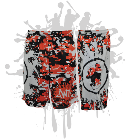 Splatter Splash Digital Camo Mens Full Dye Shorts Orange/Black/White