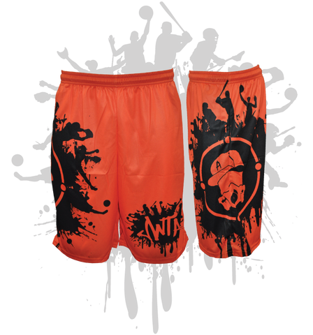 Splatter Splash Mens Full Dye Shorts Orange/Black