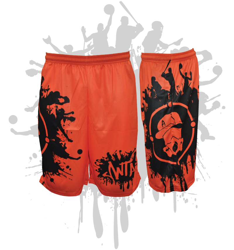 Splatter Splash Mens Full Dye Shorts Neon Orange/Black