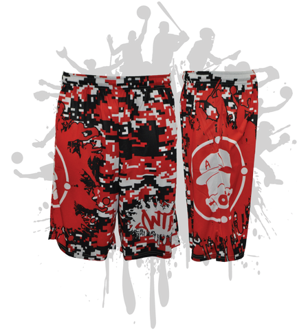 Splatter Splash Digital Camo Mens Full Dye Shorts Red/Black/White