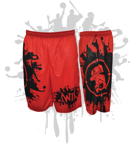 Splatter Splash Mens Full Dye Shorts Red/Black