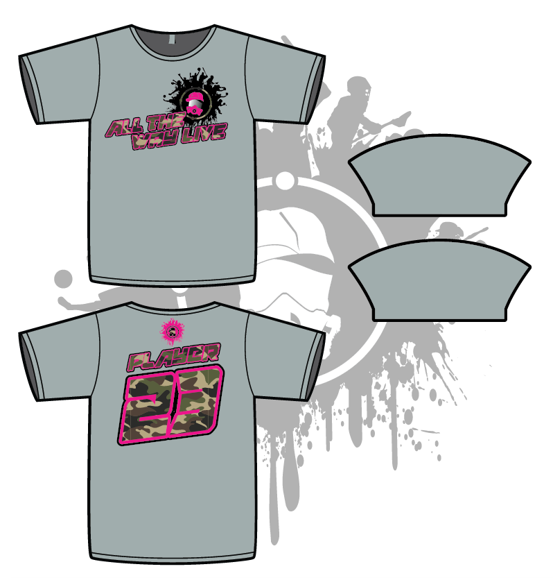 ALL THE WAY LIVE SPLASH MASK CAMO/NEON PINK on MEN'S GREY SUB DYE JERSEY