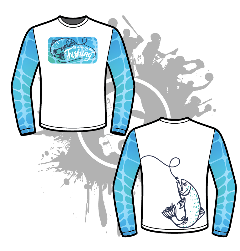 Gone Fishing Mens Full Dye Jersey Long Sleeve