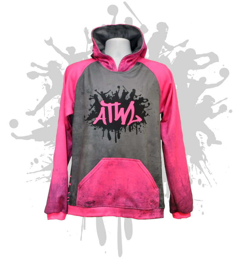 Simple Unisex Hoody Neon Pink/Grey