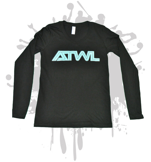 ATWL Tron Mint Logo Long Sleeve Women's V-Neck Casual Shirt