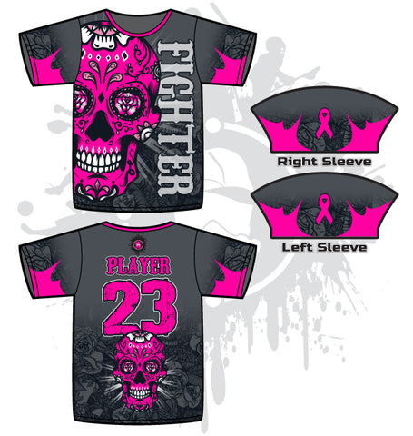 Sugar Skull Breast Cancer Awareness Men's full dye jersey