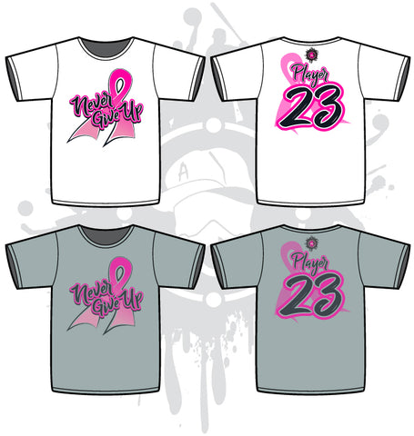 NEVER GIVE UP Cancer Awareness Sub Dye Mens Jersey