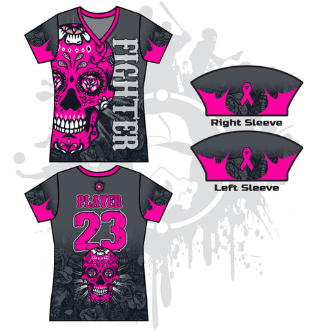 Sugar Skull Breast Cancer Awareness Women's full dye jersey