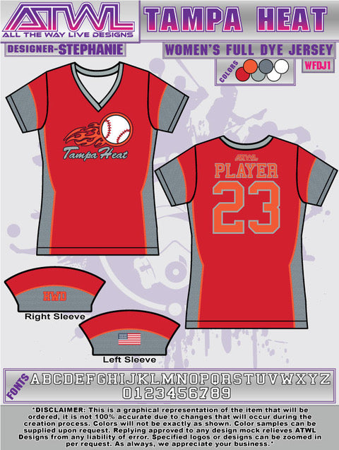 Tampa Heat Womens Full dye Jersey