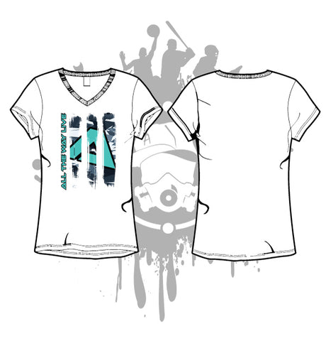 ABSTRACT CAMO WHITE SUB DYE WOMEN'S V-NECK
