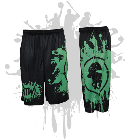 Splatter Splash Mens Full Dye Shorts Black/Kelly Green