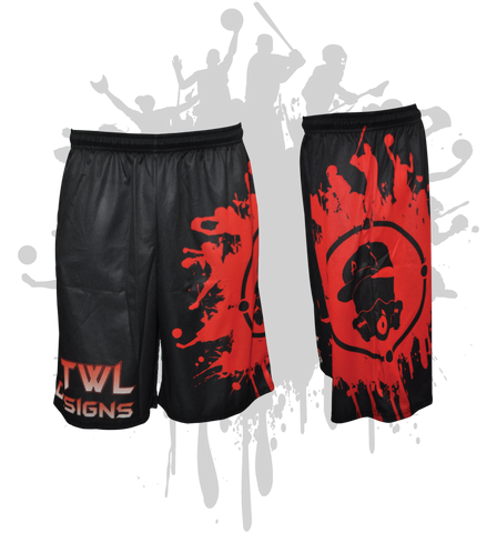 Splatter Splash Mens Full Dye Shorts Black/Red
