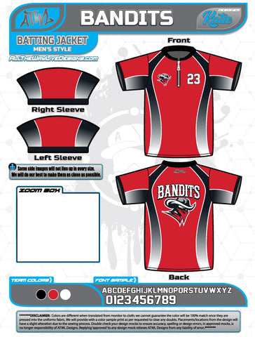 Bandits Baseball 11U Full Dye Batting Jacket