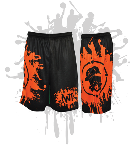 Splatter Splash Mens Full Dye Shorts Black/Orange