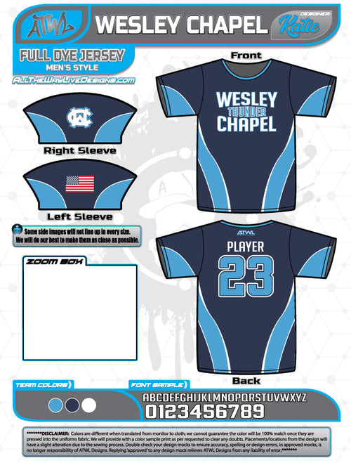 Wesley Chapel Thunder Full Dye Jersey Fall 2018